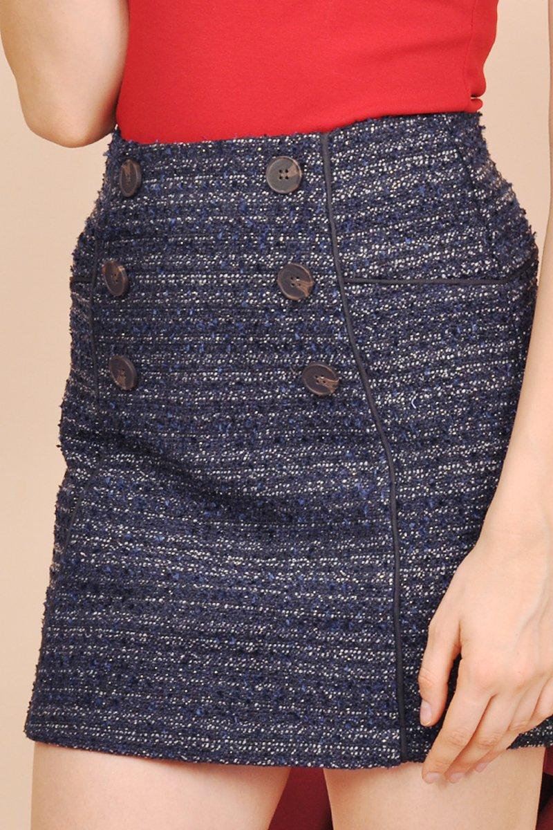 Nora Button Tweed Skirt Midnight