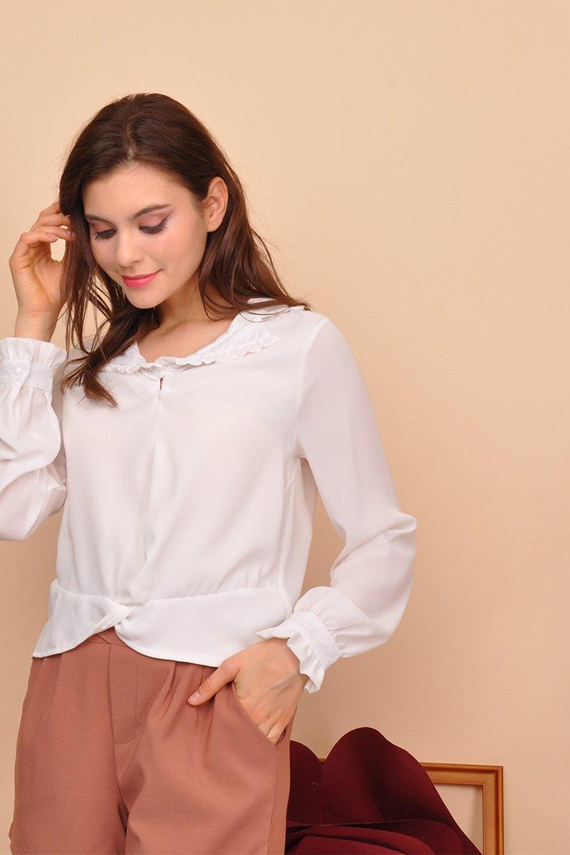 Elena Ruffle Trim Shirt Ivory