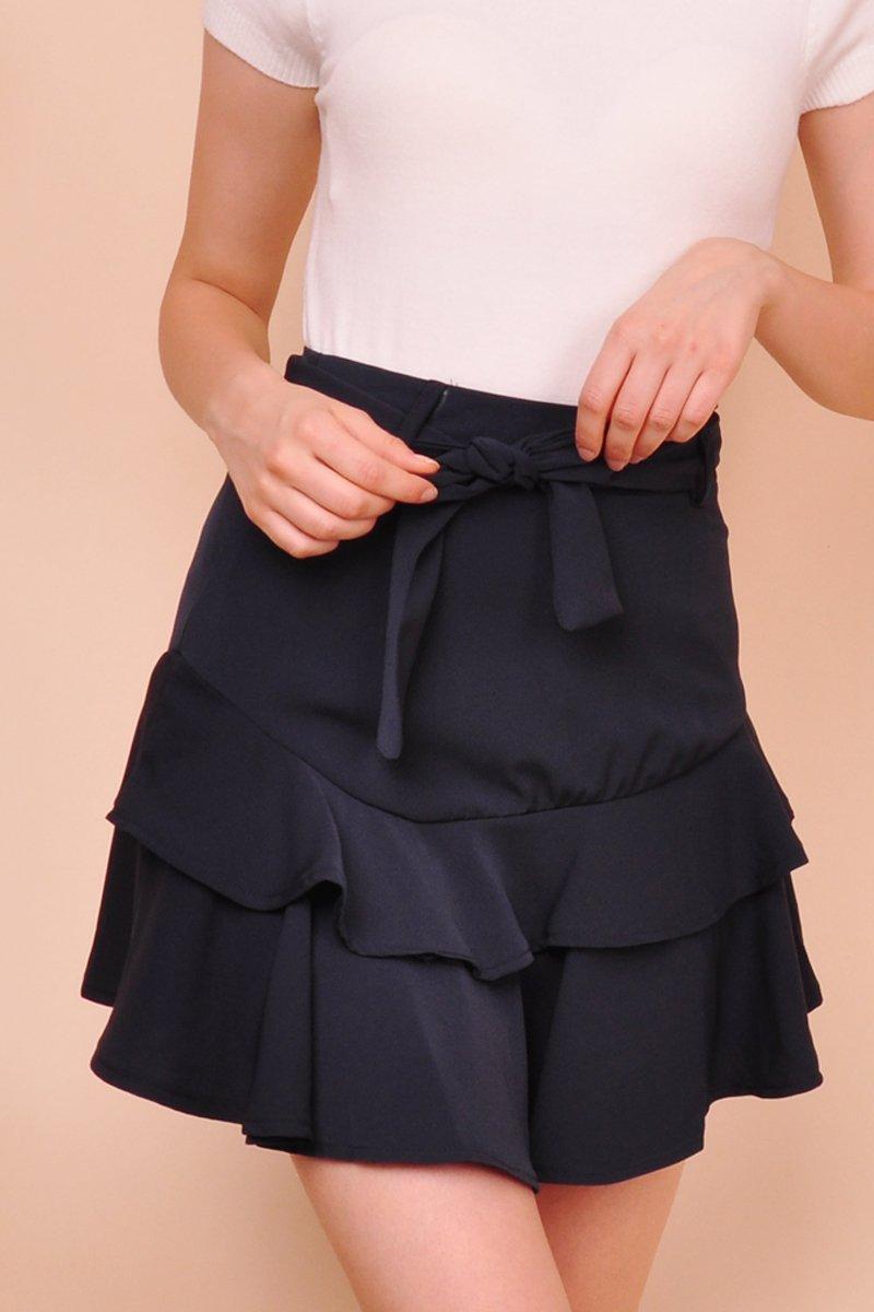 Brienne Tiered Ruffle Skirt Midnight
