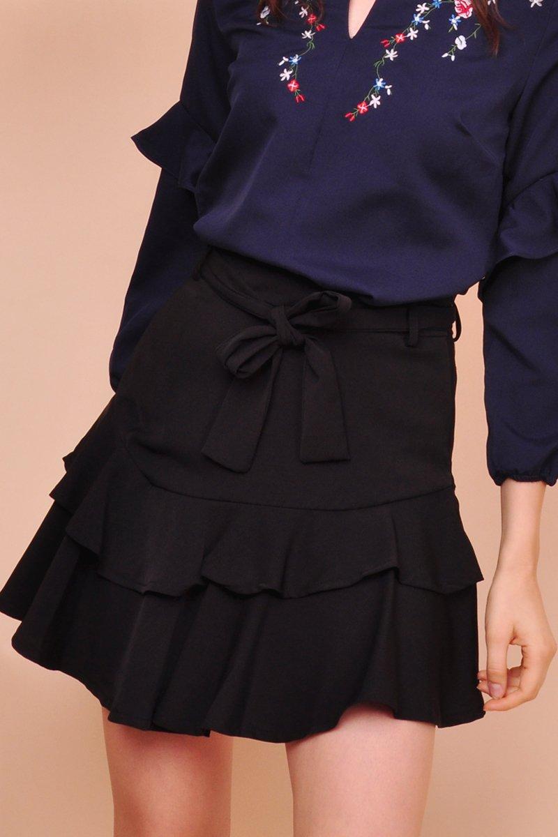 Brienne Tiered Ruffle Skirt Black