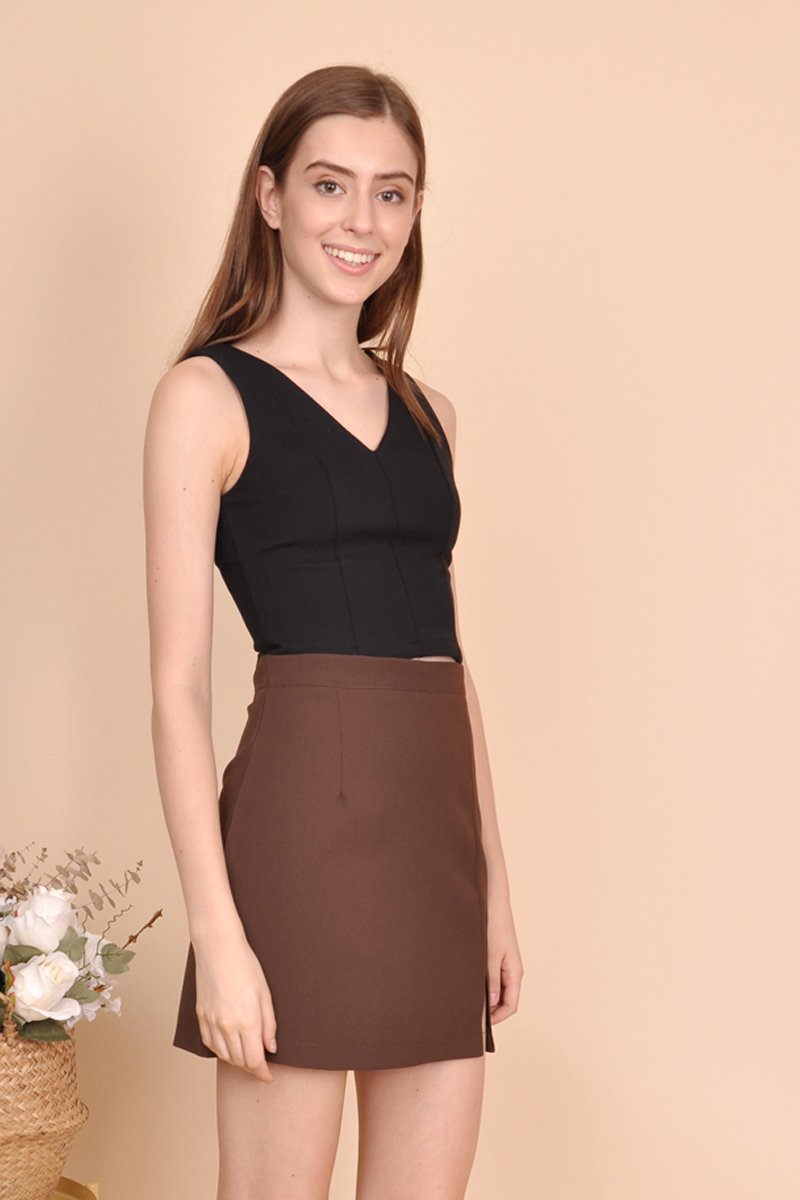 Kasey A-Line Cut Out Skort Cocoa