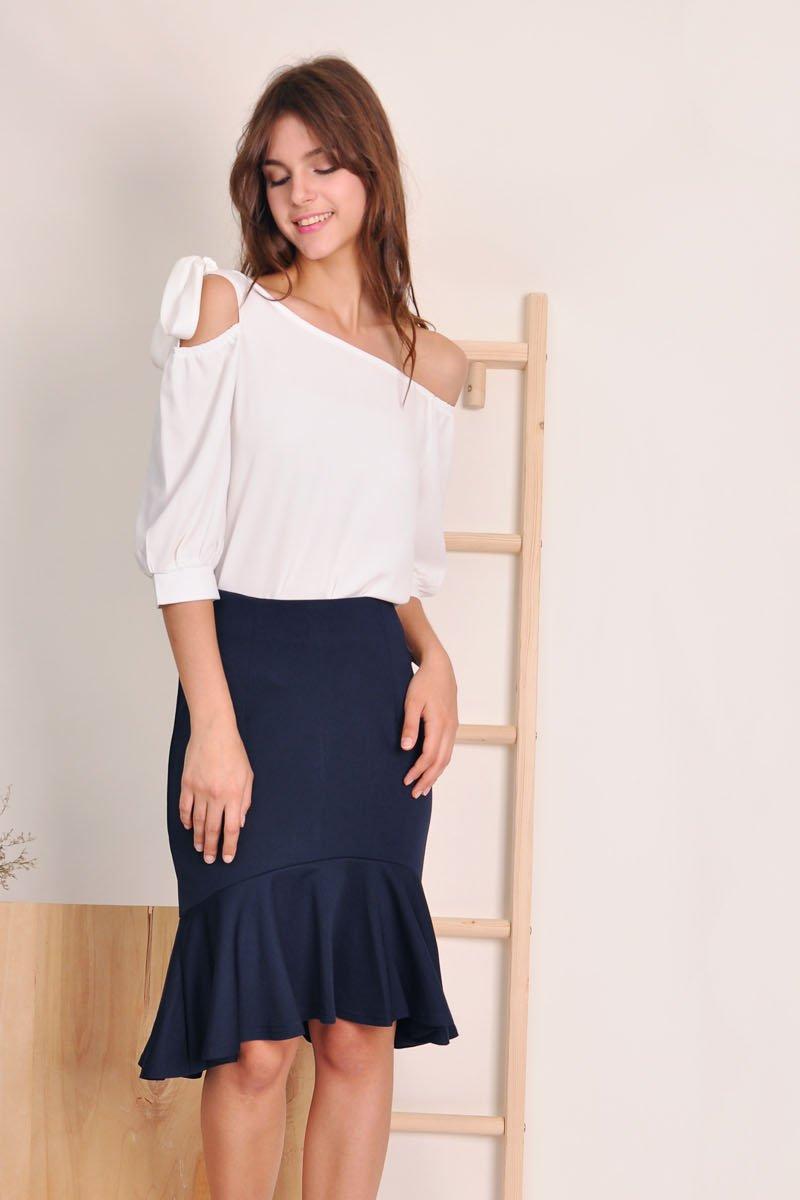 Cesaria Dropwaist Midi Skirt Midnight
