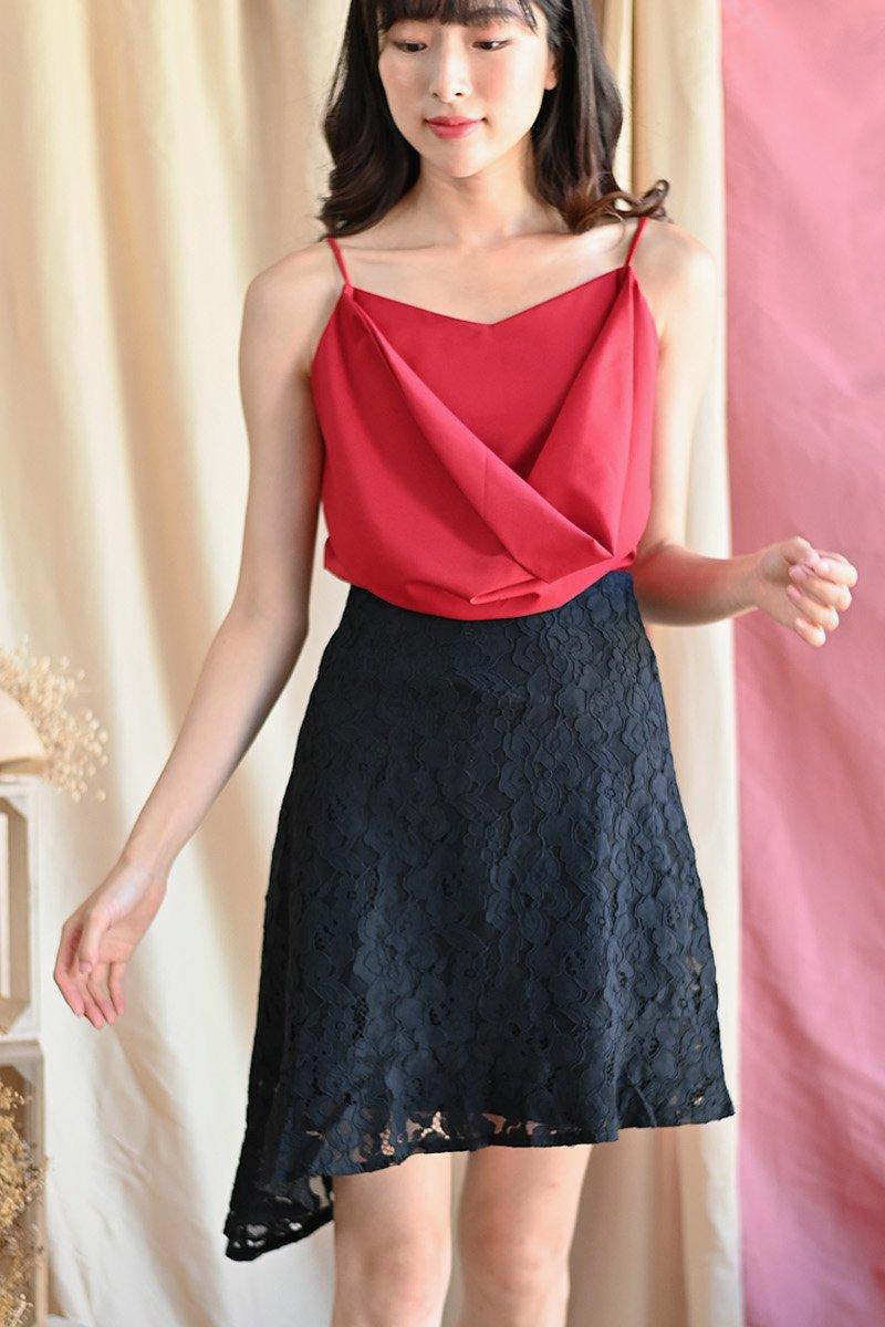 Eirene Asymmetrical Lace Skirt Black