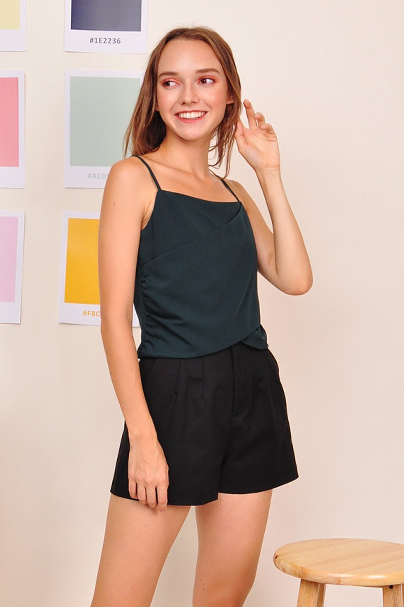 Cyra Front Wrap Cami Top Forest