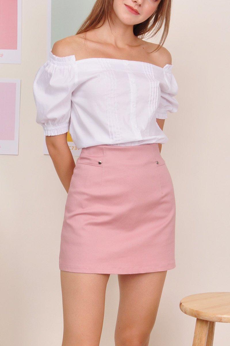 Tanis A-Line Denim Skirt Blush