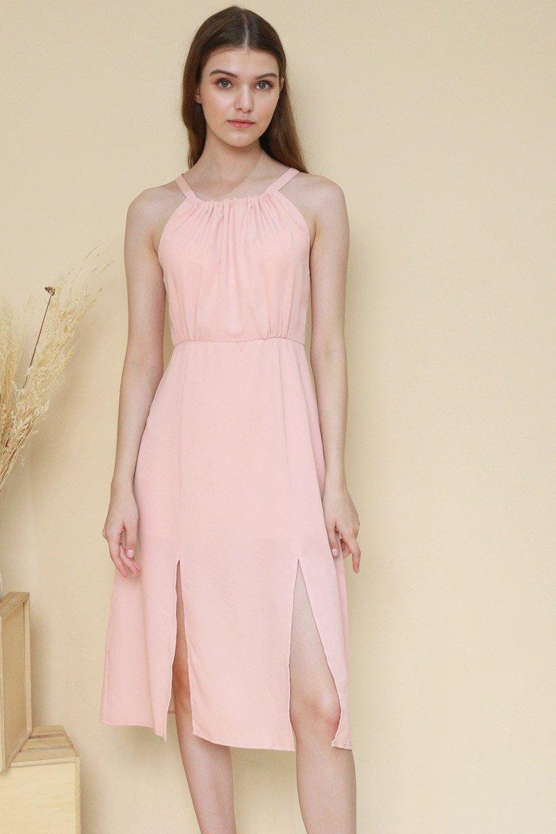 Fania Halter Neck Midi Dress Blush