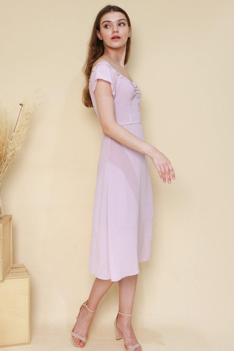 Regan Off-Shoulder Midi Dress Blush