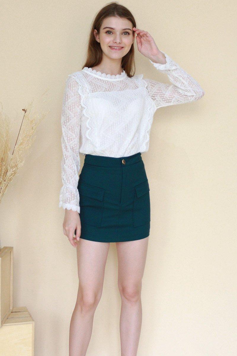 Averil Front Pocket Skirt Forest