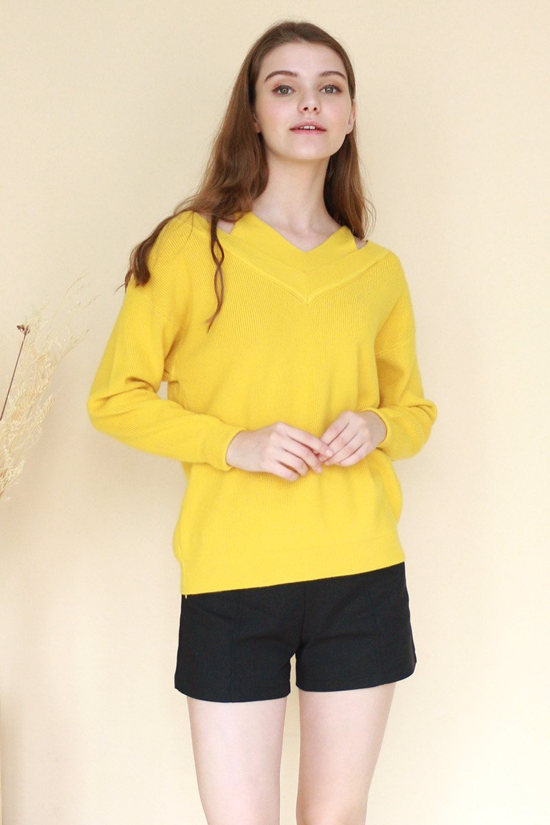 Bryony Shoulder Cut-Out Sweater Mustard