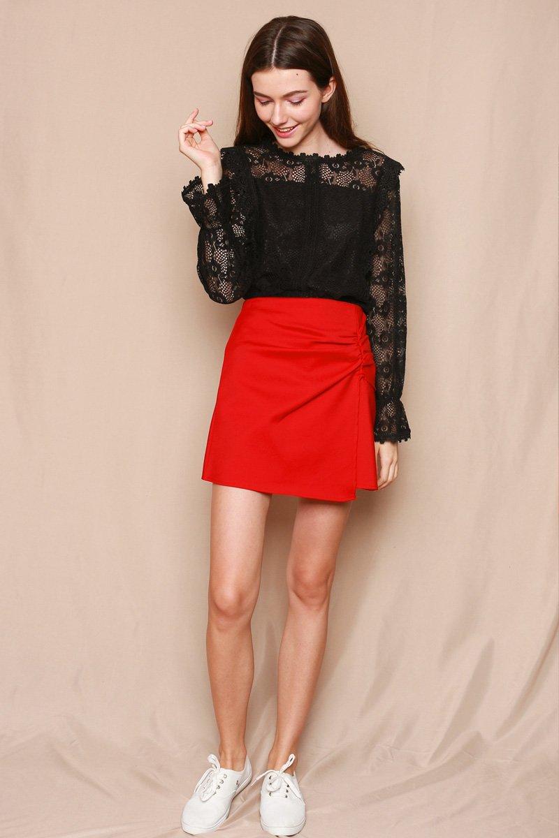 Perlita Overlap Ruched Skirt Scarlet