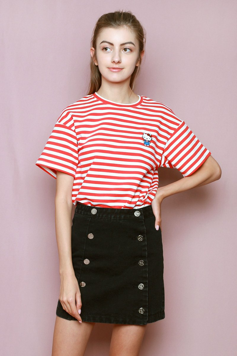 Hello Kitty Embroidered Stripe T-shirt Ruby