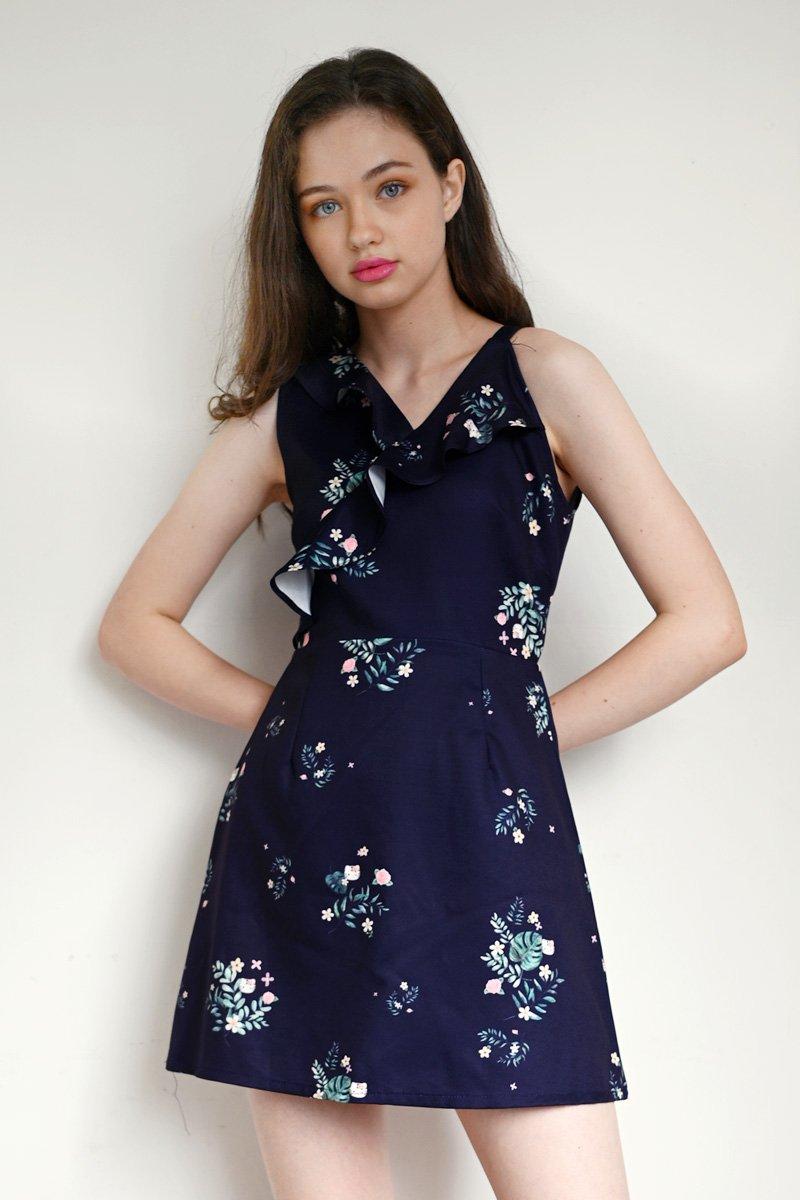 Hello Kitty Ruffle Trim Dress Midnight