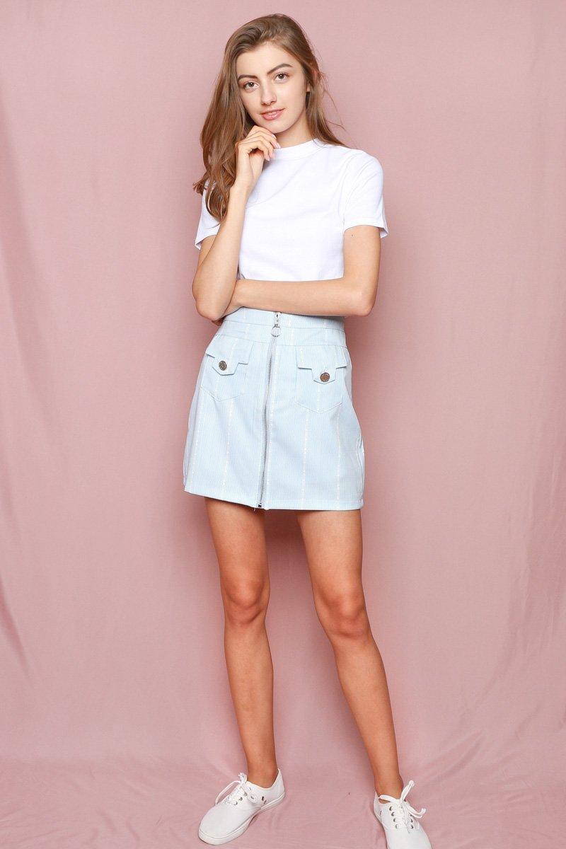 Hello Kitty Front Zipper Skirt Powder Blue