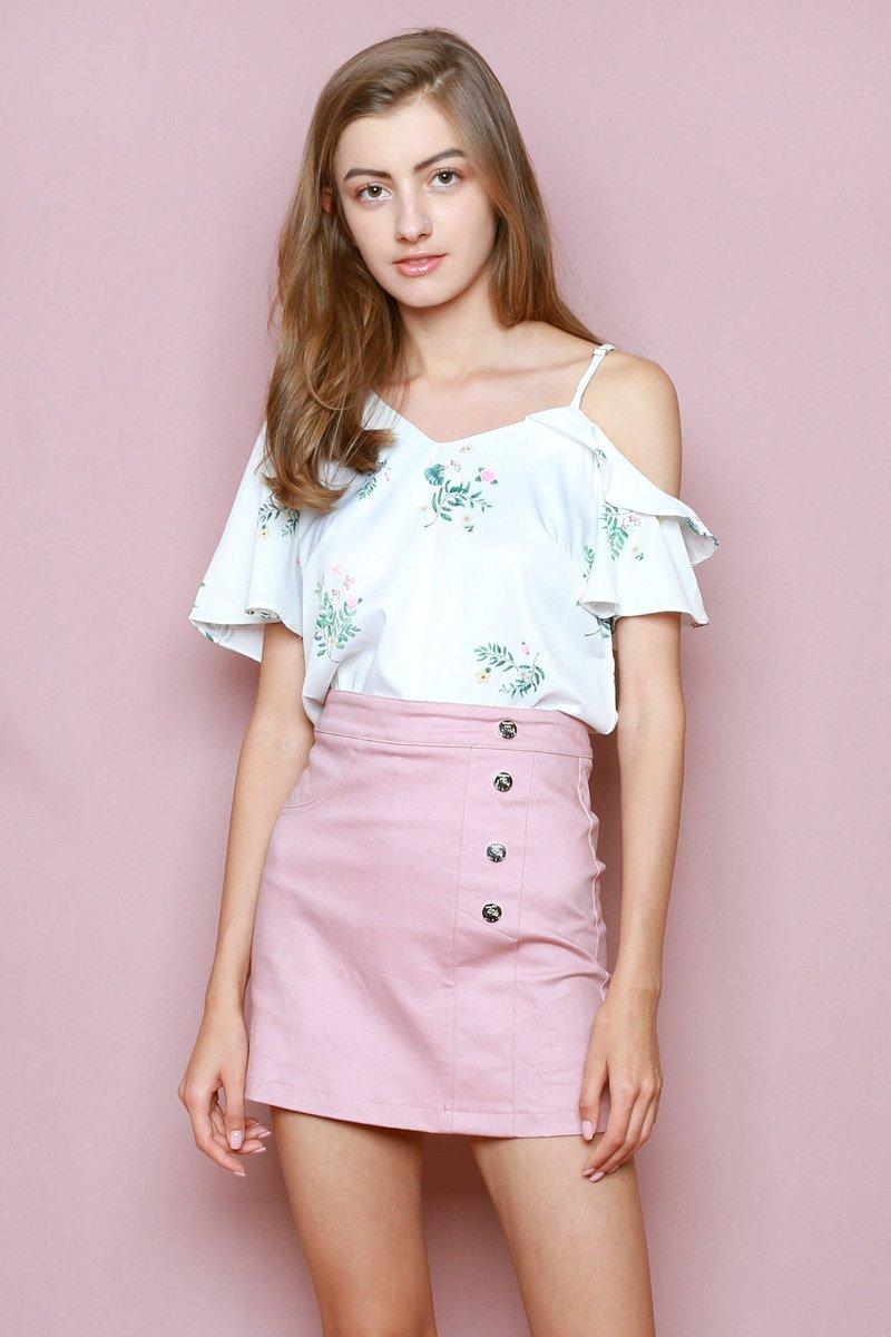 Hello Kitty Side Button Skirt Blush