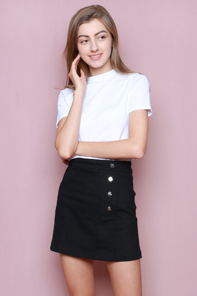 Hello Kitty Side Button Skirt Black