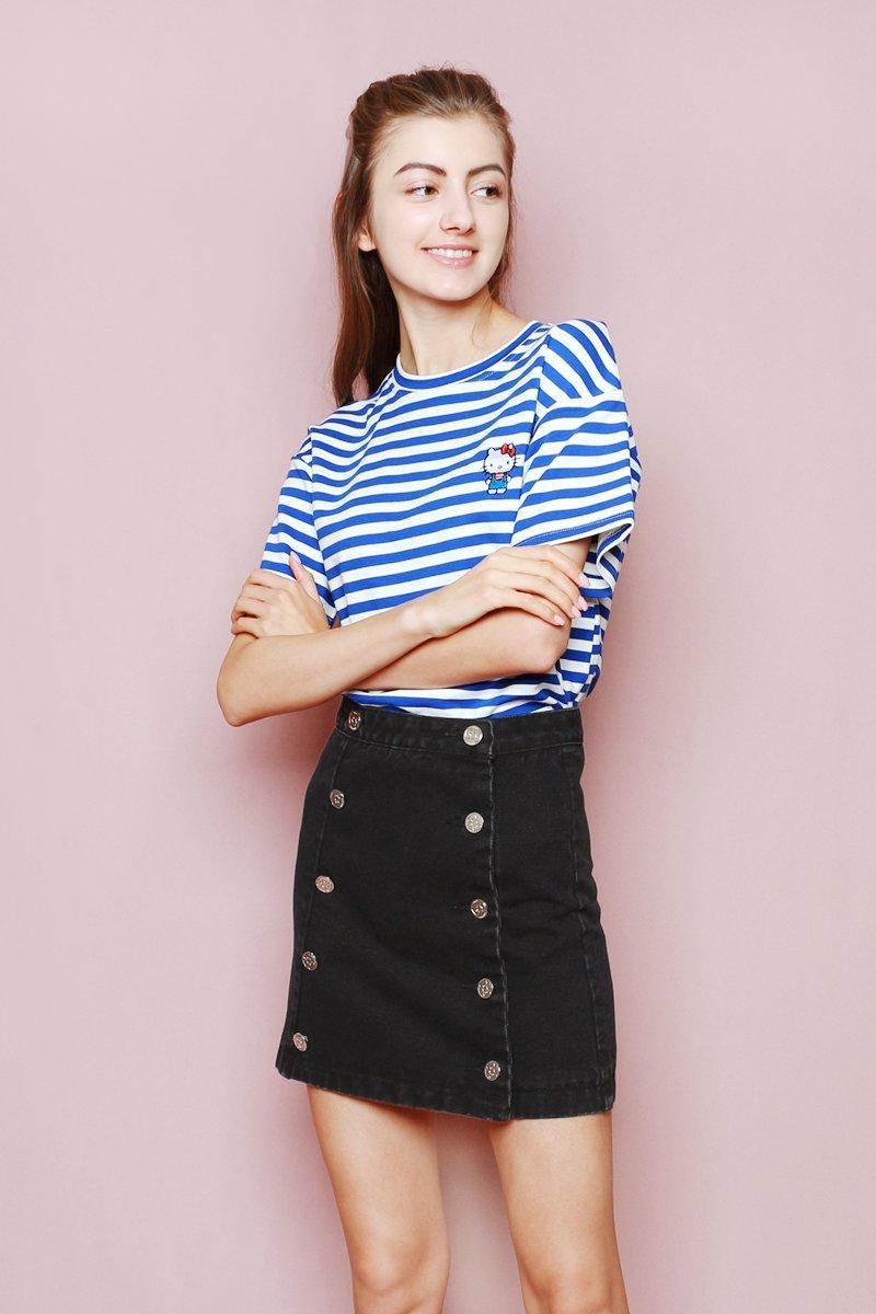 Hello Kitty Double Button Denim Skirt Black