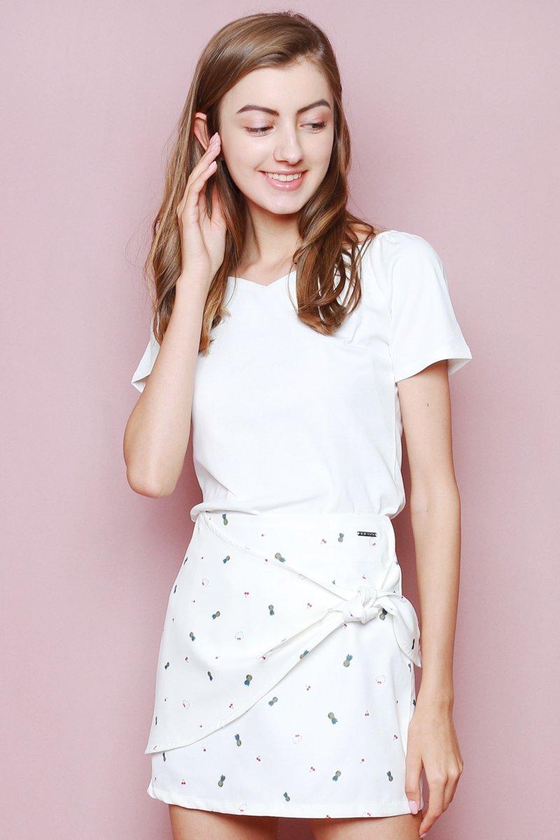 Hello Kitty Tie Front Skirt Ivory