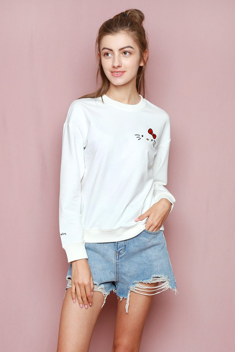 Hello Kitty Embroidered Sweater Ivory