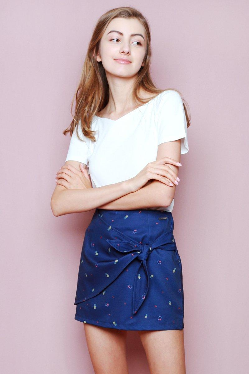 Hello Kitty Tie Front Skirt Midnight
