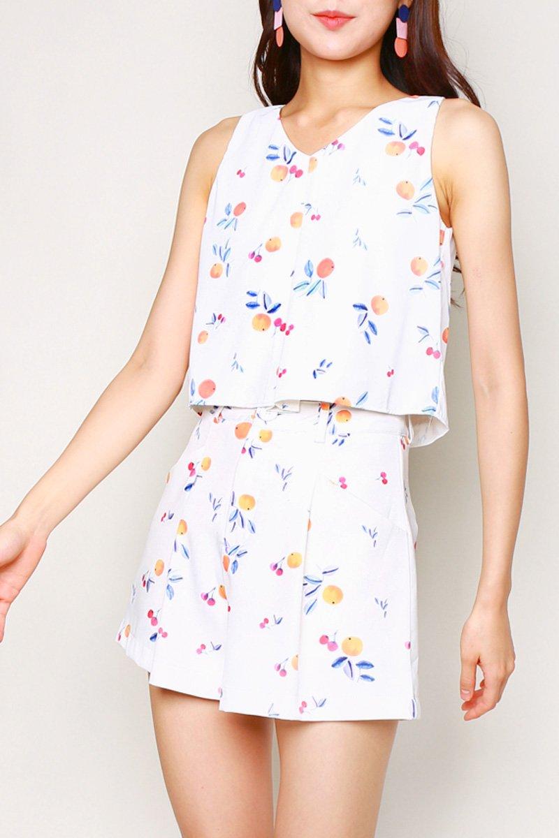 Gioia Tangerine Pleat Shorts Ivory