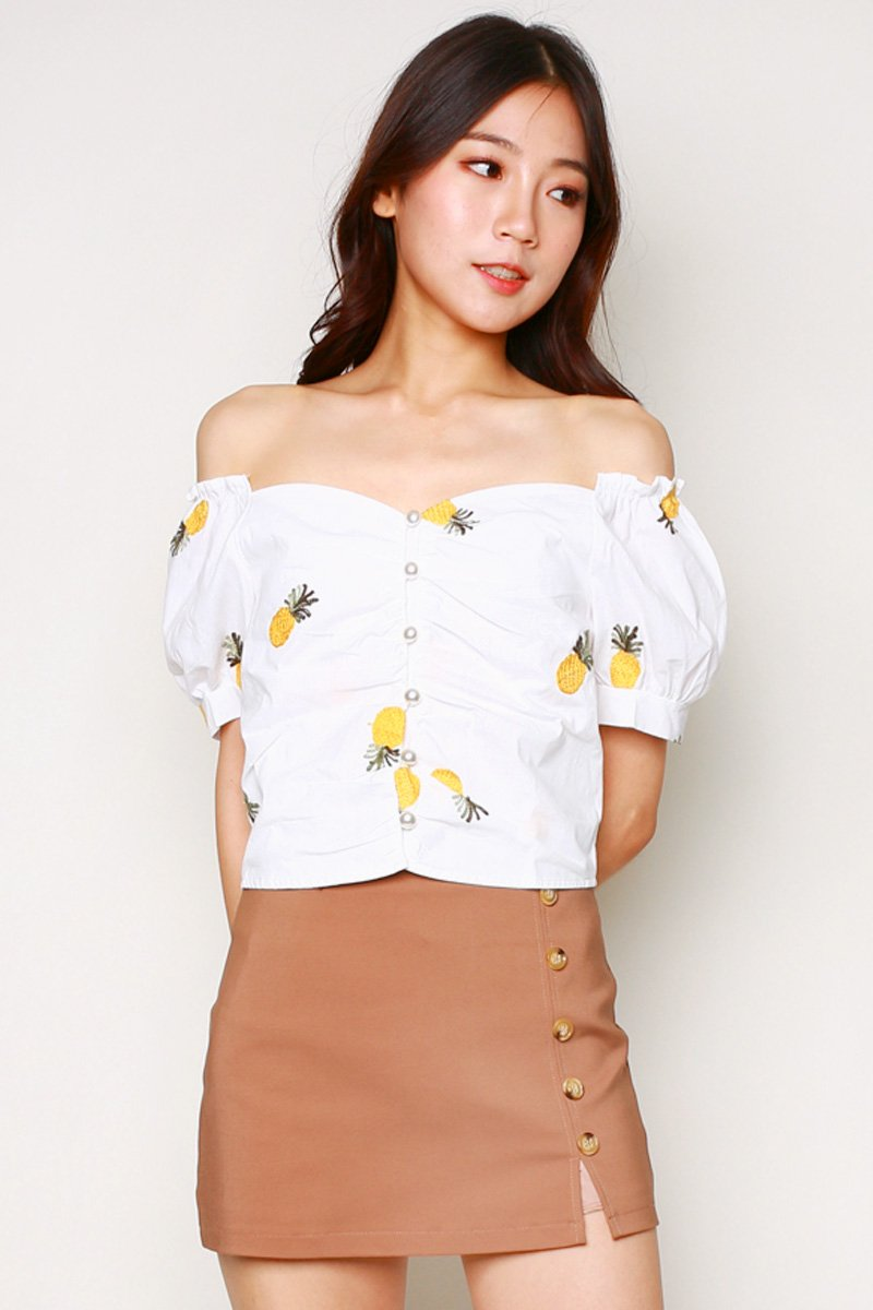 Anwen Pineapple Embroidery Top Ivory
