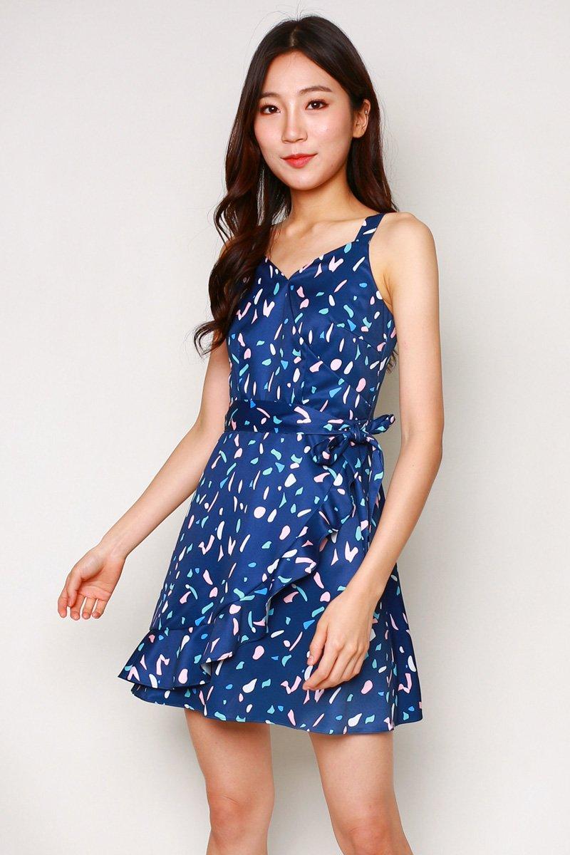 Naomi Print Overlap Ruffle Dress Midnight
