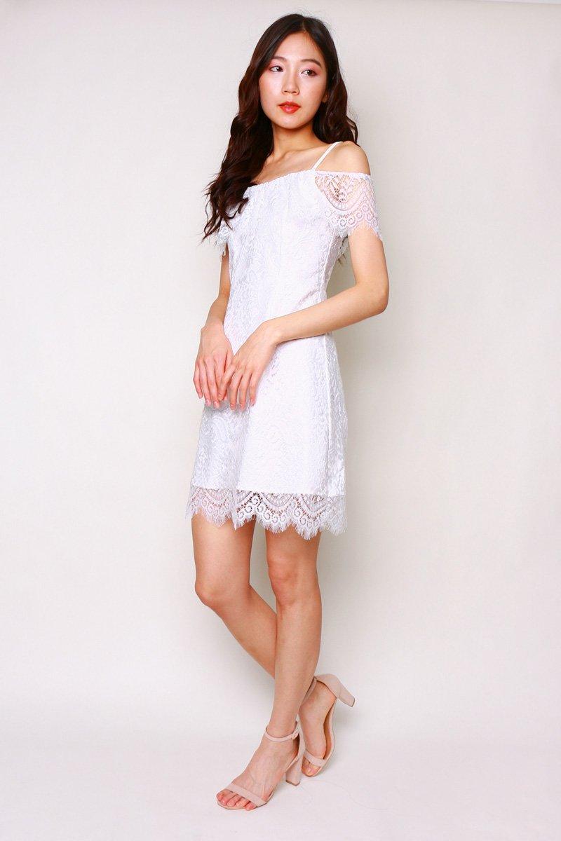 Baie Lace Overlay Dress Ivory