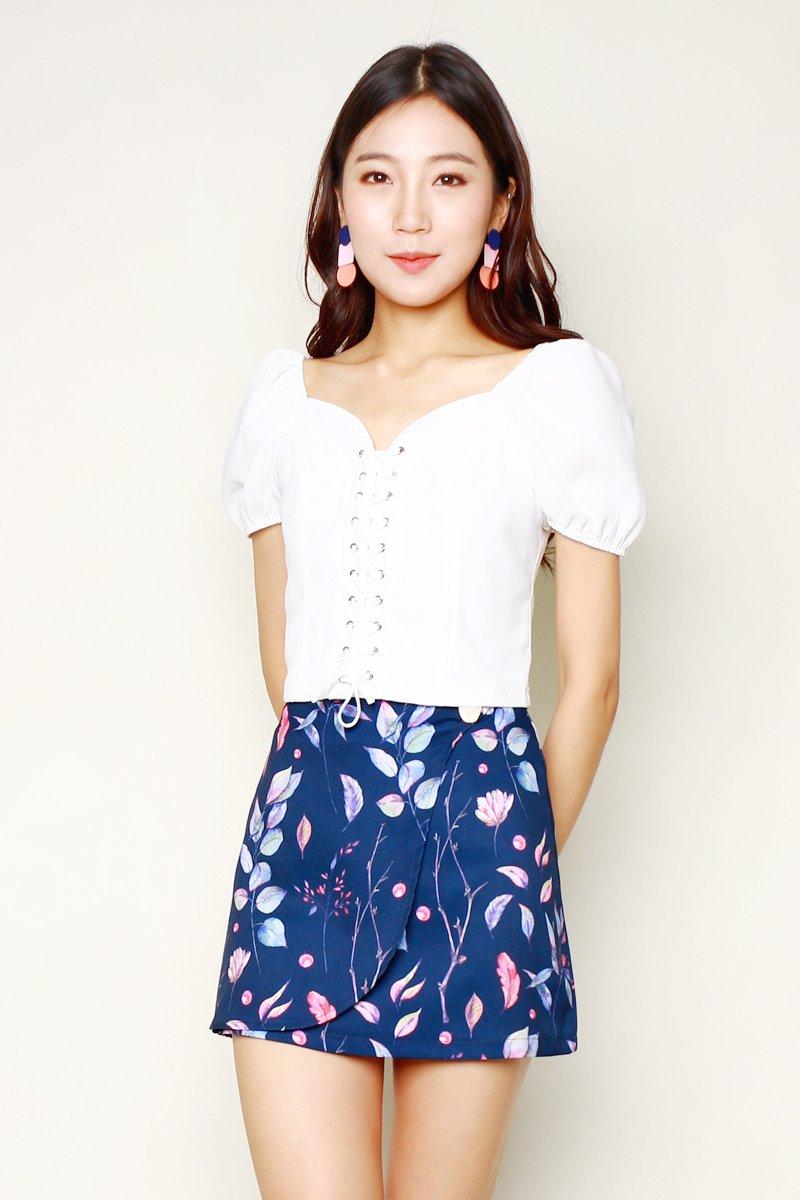 Franca Leaf Print Overlap Skirt Midnight
