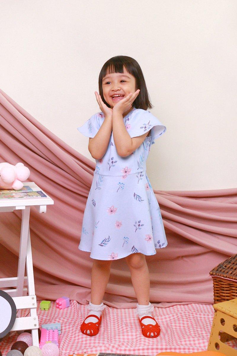KIDS Carolinda Floral Ruffle Sleeve Dress Sky