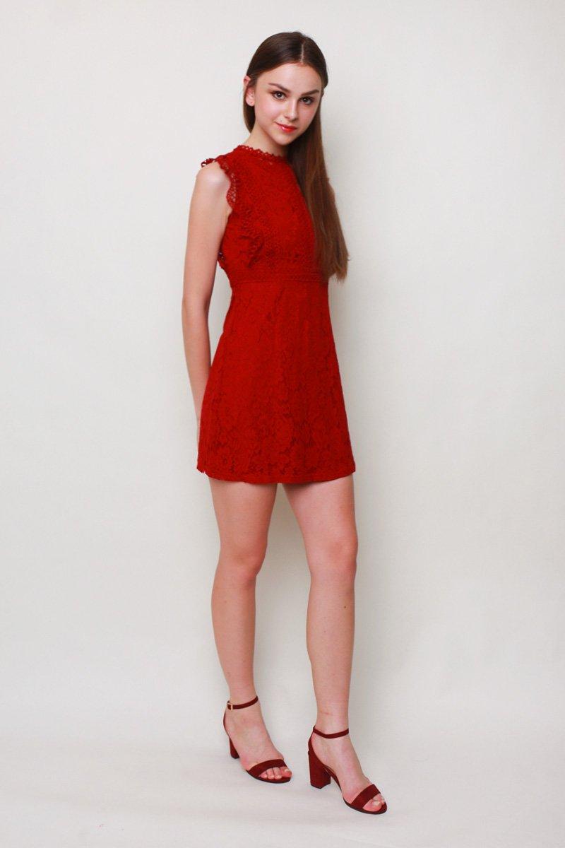 Verania Crochet Lace Dress Wine