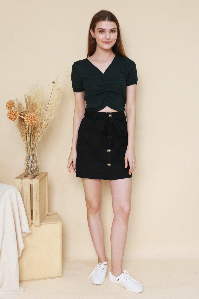 Dillon Paperbag Suede Skirt Black