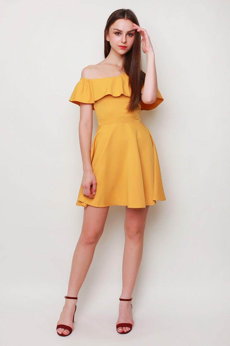 Shantal Ruffle Toga Dress Mustard