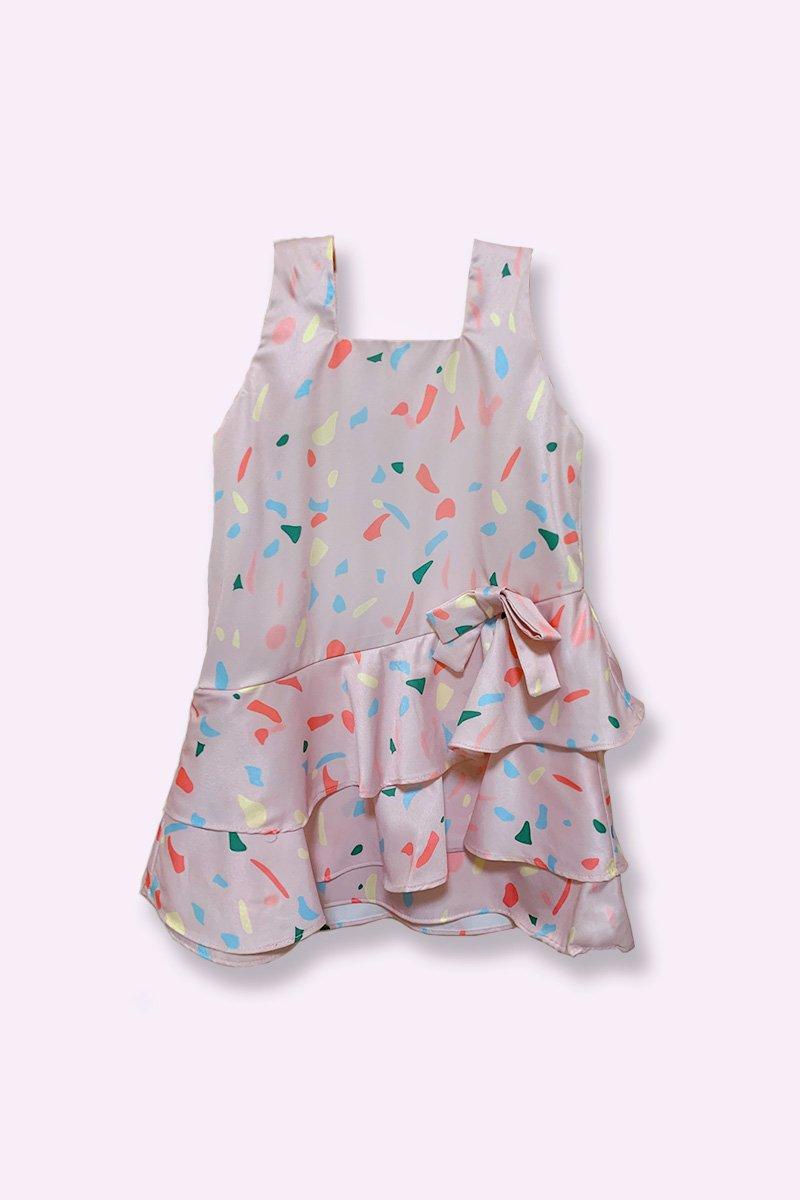 KIDS Naomi Print Overlap Ruffle Dress Blush