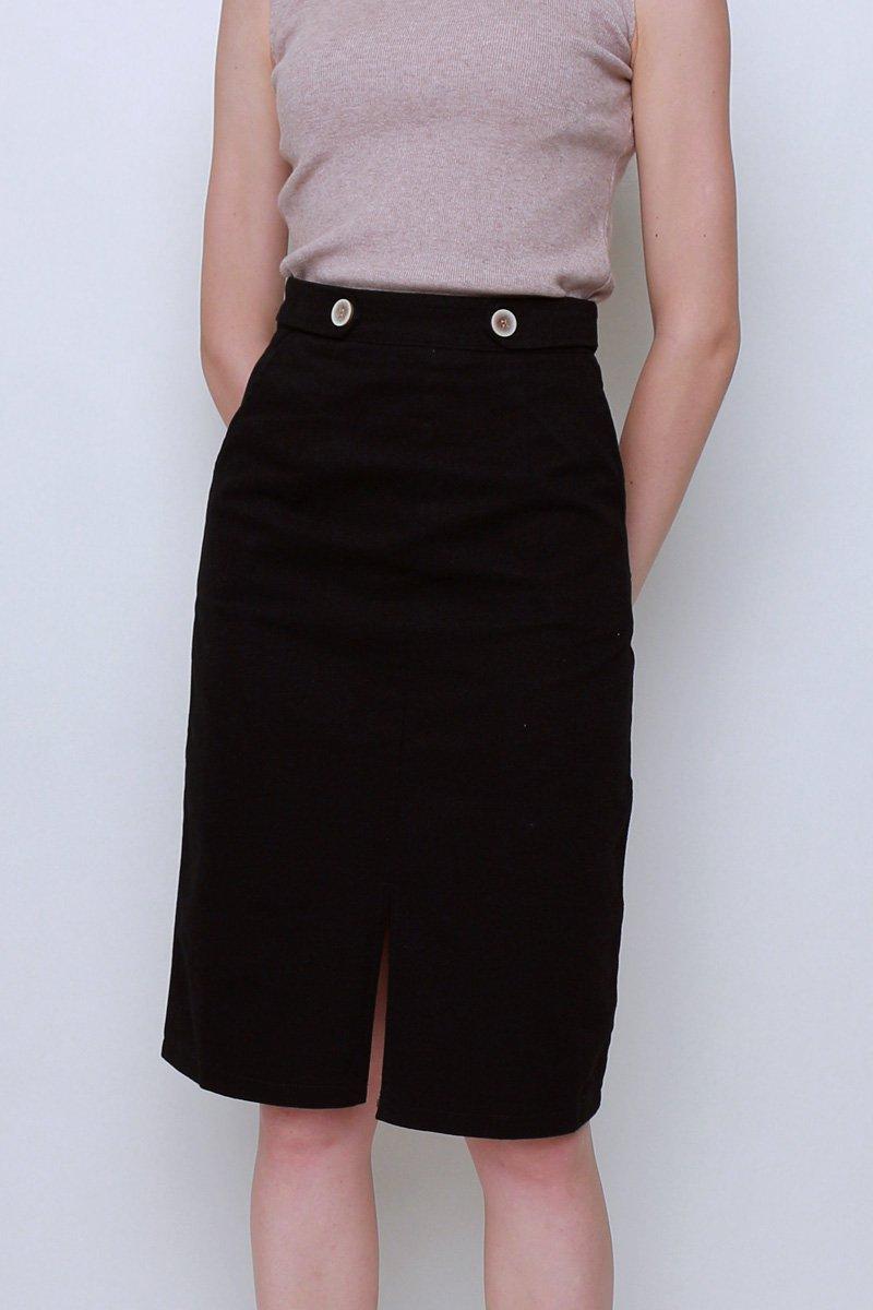 Suvi Front Slit Midi Skirt Black