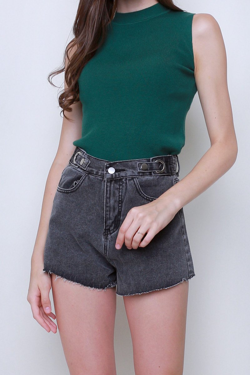 Minka Ring Buckle Denim Shorts Black
