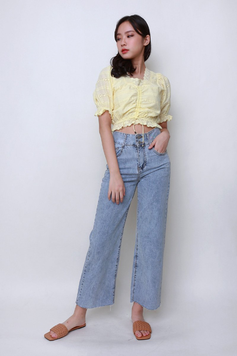 Abelle Puff Sleeve Eyelet Top Daffodil