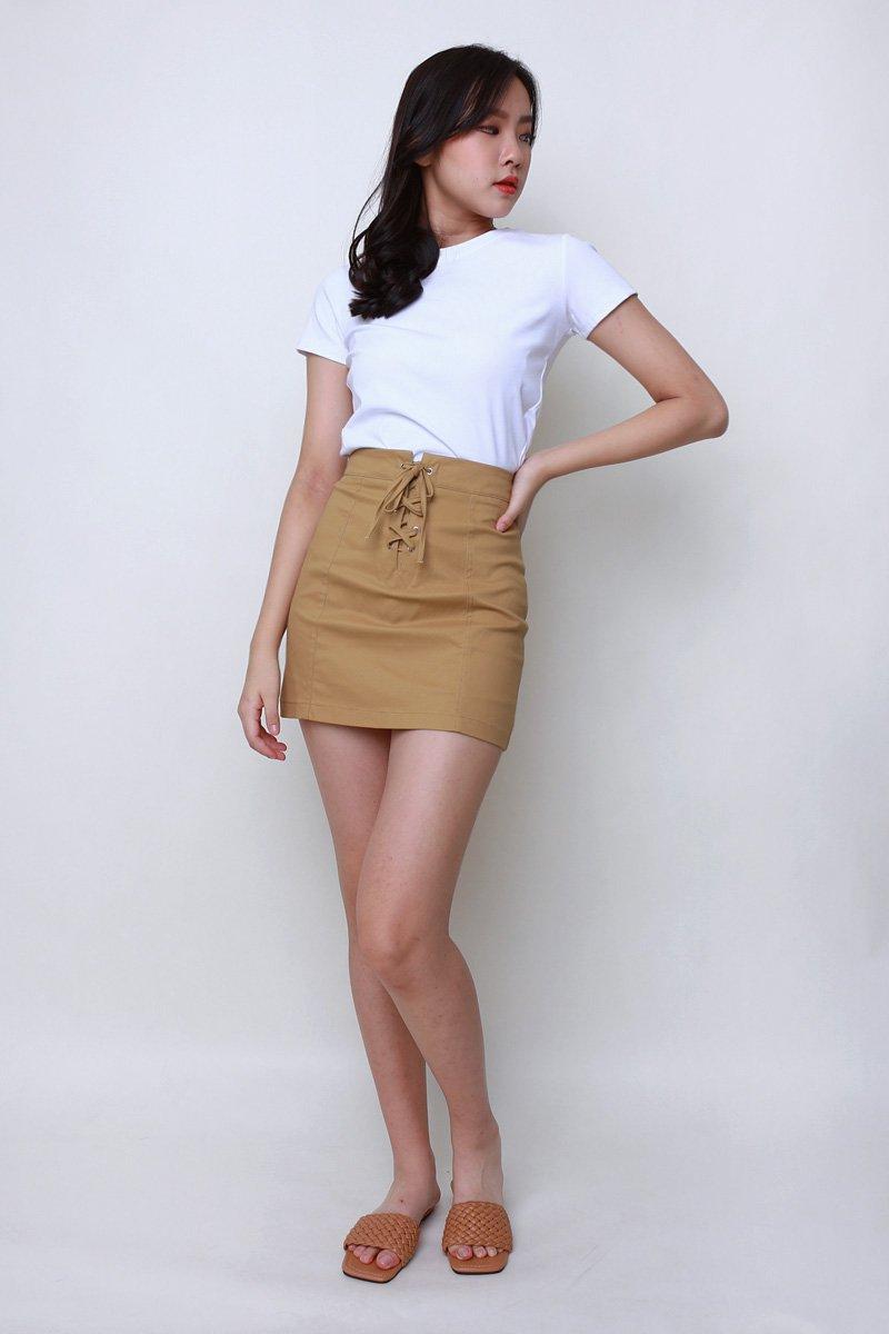 Noel Lace Up Skirt Khaki