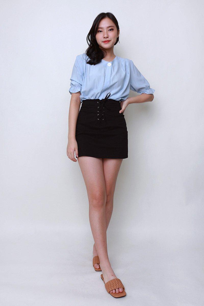 Noel Lace Up Skirt Black
