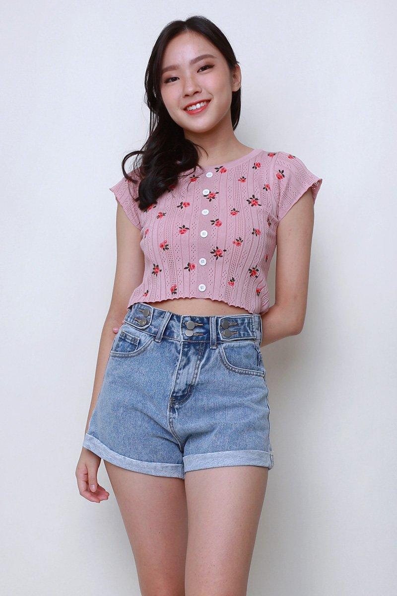 Mellie Floral Knit Crop Top Blush