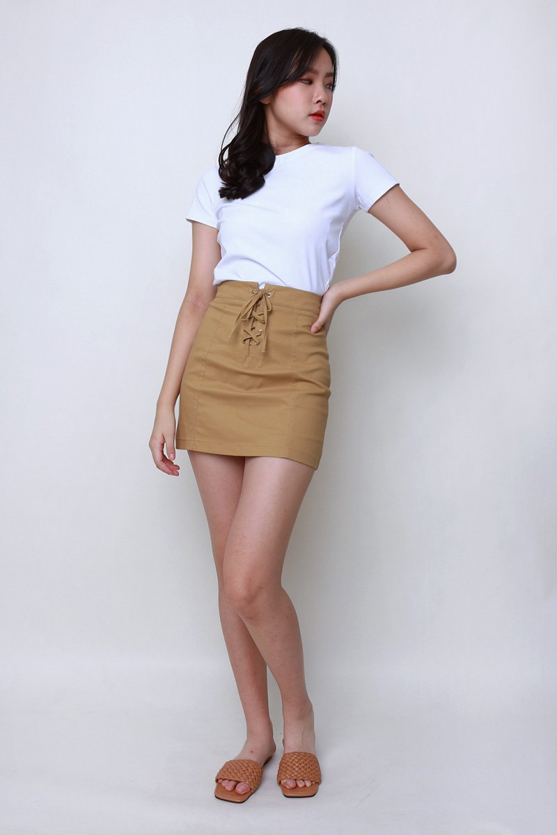 Noel Lace Up Skirt Khaki