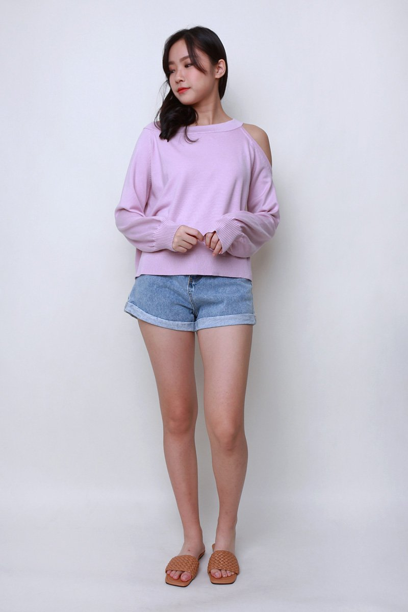 Tansy Cold Shoulder Knit Sweater Blush