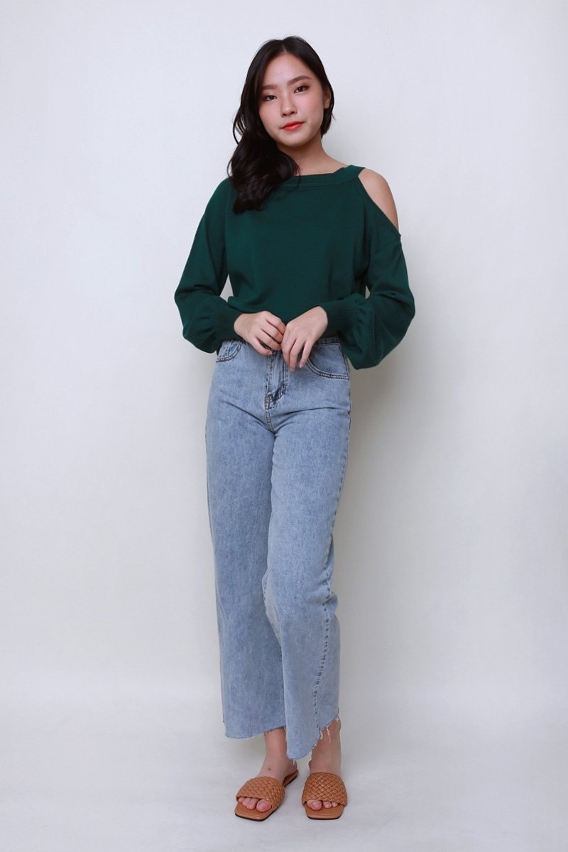 Tansy Cold Shoulder Knit Sweater Forest