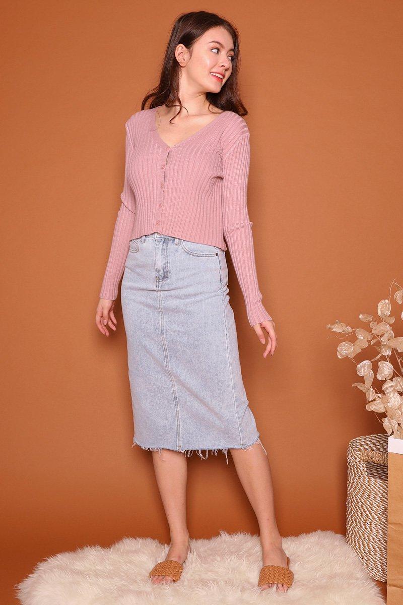 Robine Denim Raw Hem Midi Skirt Lightwashed