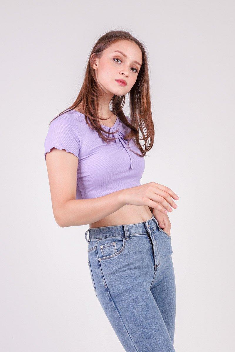 Calder Ribbed Knit Top Lilac
