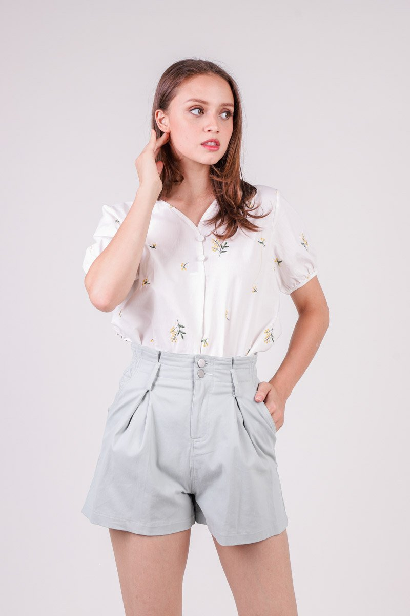Deanna Floral Embroidery Top Ivory