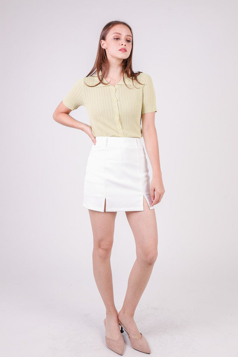 Embry Collared Knit Top Lime