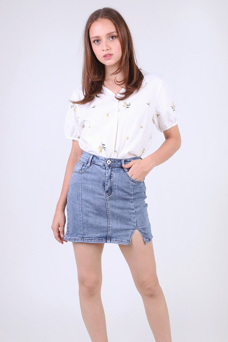 Macen Cut Out Denim Skirt Darkwashed