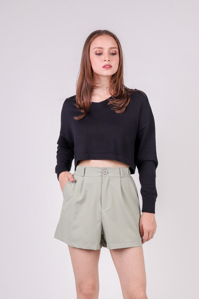 Tasha Cropped Knit Sweater Black