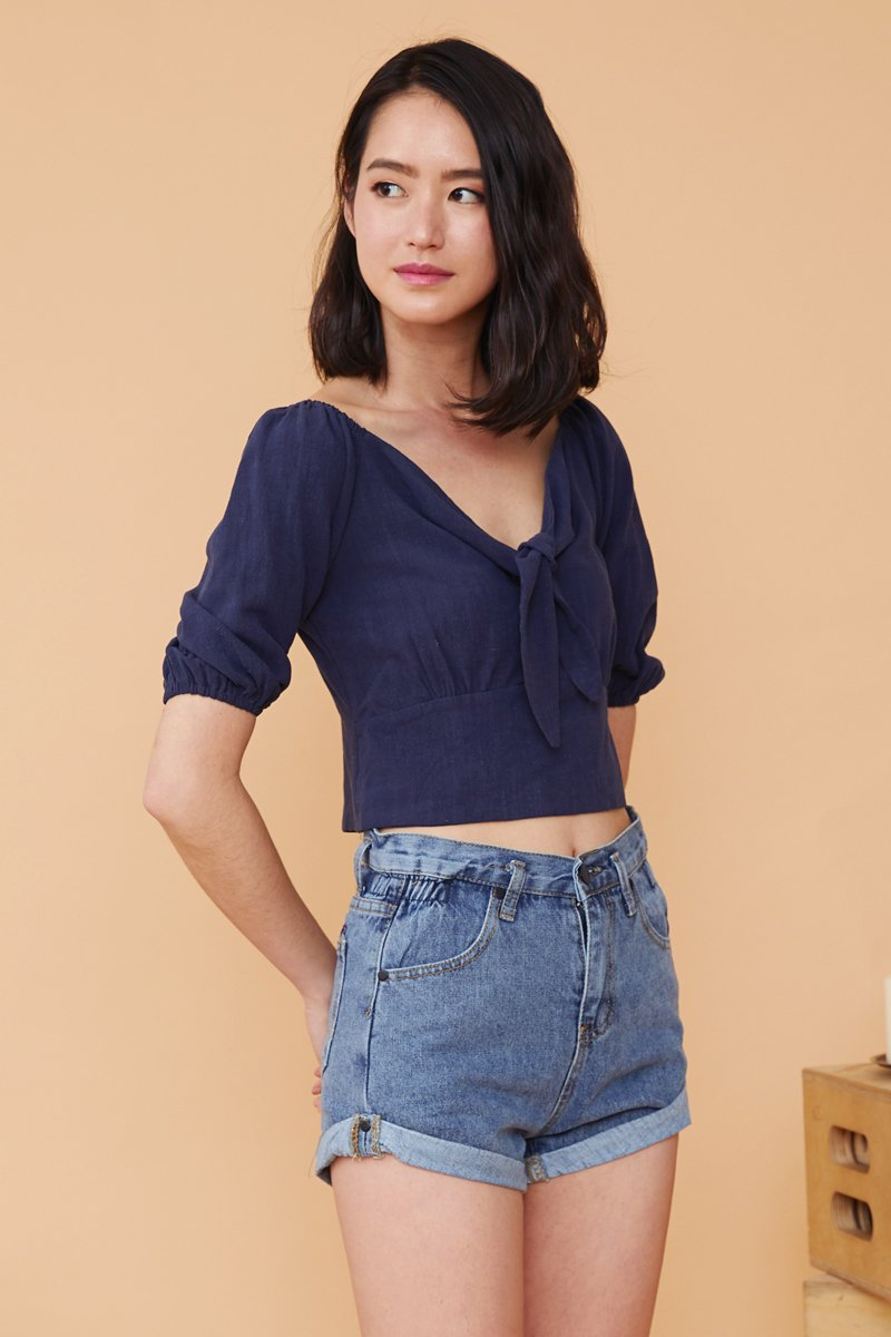 Abril Linen Puff Sleeves Top Midnight