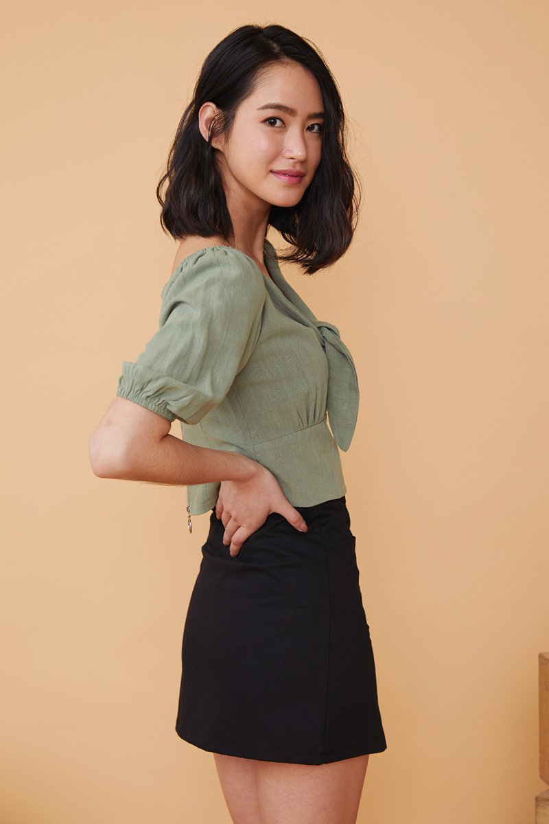 Abril Linen Puff Sleeves Top Sage